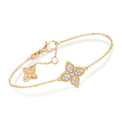 "Roberto Coin ""Princess"" .17 ct. t.w. Diamond Flower Bracelet in 18kt Yellow Gold"