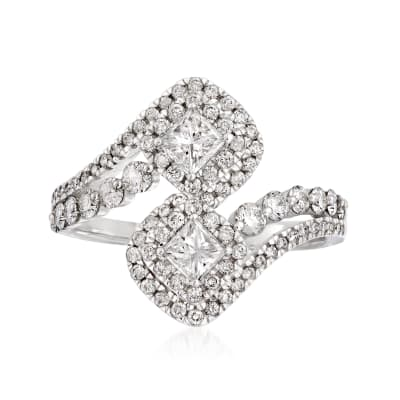 1.20 ct. t.w. Diamond Bypass Ring in 14kt White Gold