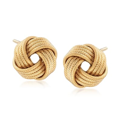 Italian 18kt Gold Over Sterling Silver Textured Love Knot Stud Earrings