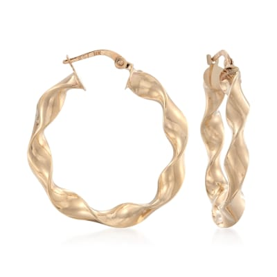 14kt Yellow Gold Wavy Hoop Earrings