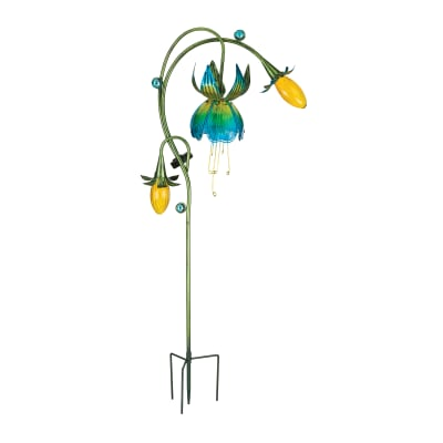"Regal Yellow and Blue ""Fuchsia"" Outdoor Decorative Solar Garden Stake"
