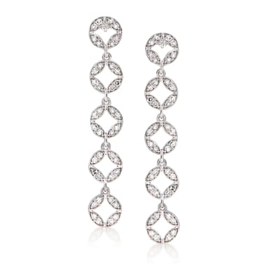 .41 ct. t.w. Diamond Linear Drop Earrings in Sterling Silver