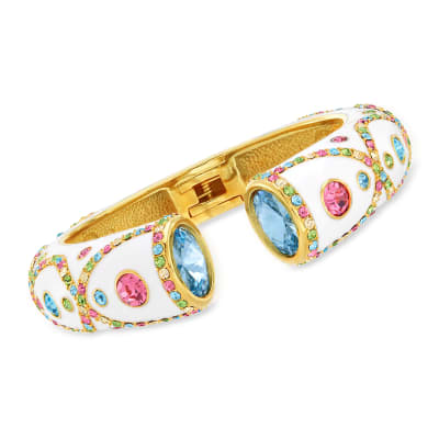 Multicolored Crystal and Blue Swarovski Crystal Cuff Bracelet with White Enamel in 18kt Gold Over Sterling