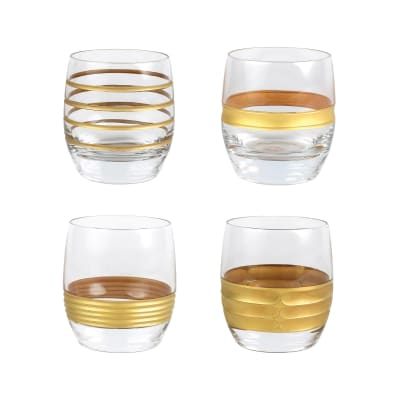 "Vietri ""Raffaello"" Set of 4 Assorted Double Old-Fashioned Glasses from Italy"