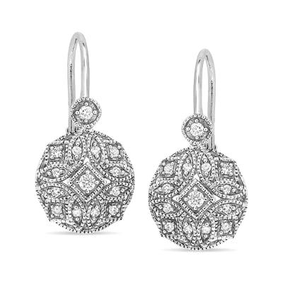 .13 ct. t.w. Diamond Milgrain Openwork Drop Earrings in 14kt White Gold