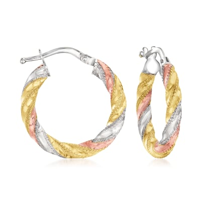 Italian 14kt Tri-Colored Gold Twisted Hoop Earrings