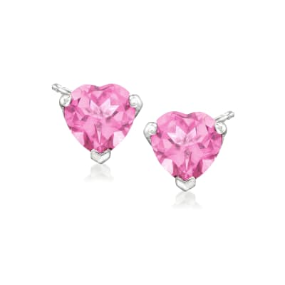 3.00 ct. t.w. Pink Topaz Heart Stud Earrings in Sterling Silver