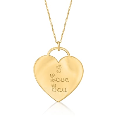 "14kt Yellow Gold Heart-Shaped ""I Love You"" Pendant Necklace"