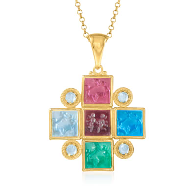 Italian Tagliamonte Multicolored Venetian Glass Intaglio Pendant Necklace with 1.20 ct. t.w. Sky Blue Topaz in 18kt Gold Over Sterling