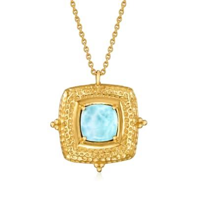 Larimar Pendant Necklace in 18kt Gold Over Sterling