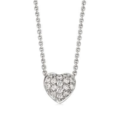 "Roberto Coin ""Tiny Treasures"" .15 ct. t.w. Diamond Puffed Heart Necklace in 18kt White Gold"