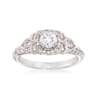 Gabriel Designs .31 ct. t.w. Diamond Engagement Ring Setting in 14kt White Gold