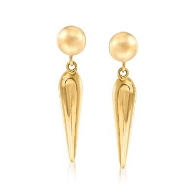 14kt Yellow Gold Elongated Drop Earrings