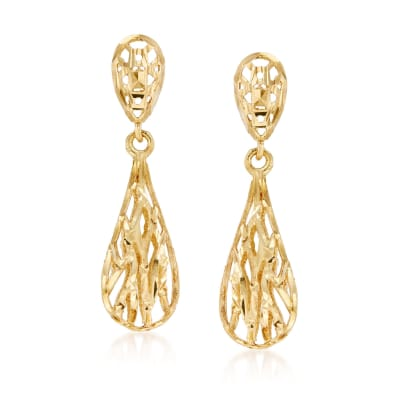 14kt Yellow Gold Openwork Drop Earrings