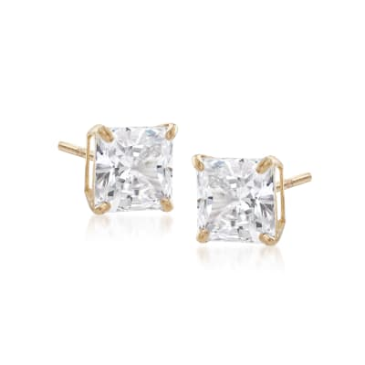 1.00 ct. t.w. Princess-Cut CZ Stud Earrings in 14kt Yellow Gold