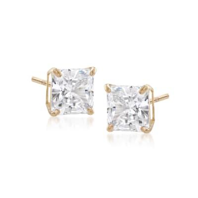 1.00 ct. t.w. Princess-Cut CZ Stud Earrings in 14kt Yellow Gold