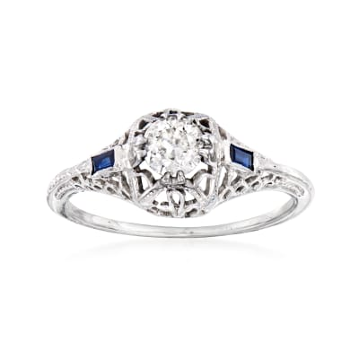 C. 1950 Vintage .35 Carat Diamond and Synthetic Sapphire-Accented Ring in 18kt White Gold
