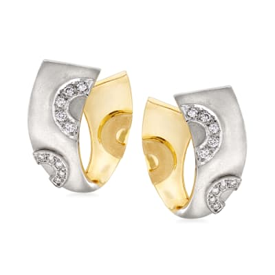 C. 1980 Vintage .35 ct. t.w. Diamond Ribbon Clip-On Earrings in 18kt Two-Tone Gold