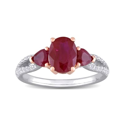 2.50 ct. t.w. Ruby and .18 ct. t.w. Diamond Three-Stone Ring in 14kt Two-Tone Gold
