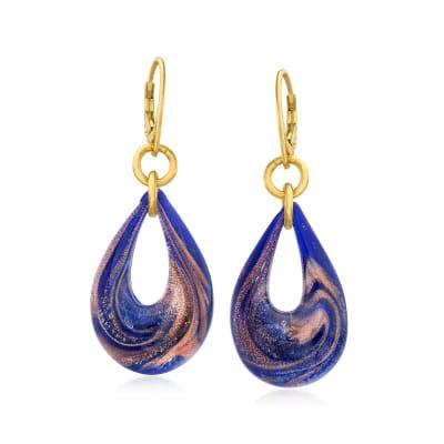 Italian Multicolored Murano Glass Teardrop Earrings in 18kt Gold Over Sterling