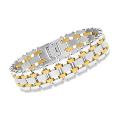 Men's Two-Tone Stainless Steel Railroad-Link Bracelet