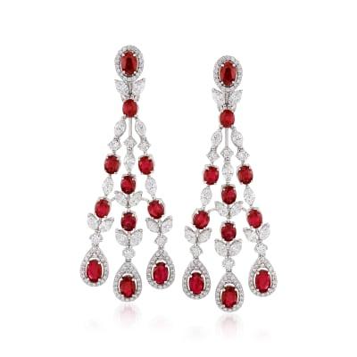 9.00 ct. t.w. Ruby and 6.40 ct. t.w. Diamond Chandelier Drop Earrings in 18kt White Gold