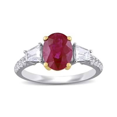 2.10 Carat Ruby and .44 ct. t.w. White Sapphire Ring with .23 ct. t.w. Diamonds in 14kt Two-Tone Gold