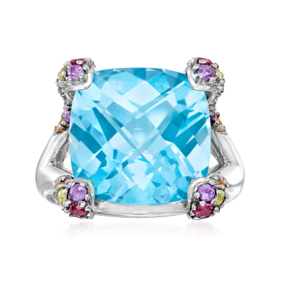 14.00 Carat Swiss Blue Topaz Ring with 1.60 ct. t.w. Multi-Gemstones in Sterling Silver