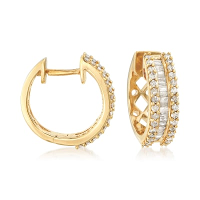 1.00 ct. t.w. Round and Baguette Diamond Hoop Earrings in 18kt Gold Over Sterling