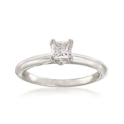 C. 1990 Vintage Tiffany Jewelry .30 Carat Diamond Solitaire Ring in Platinum