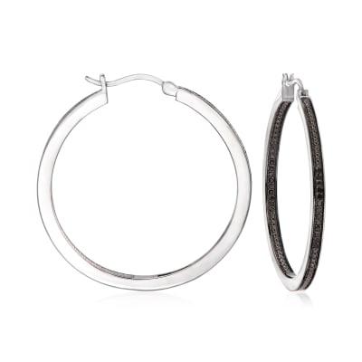 .25 ct. t.w. Black Diamond Inside-Outside Hoop Earrings in Sterling Silver