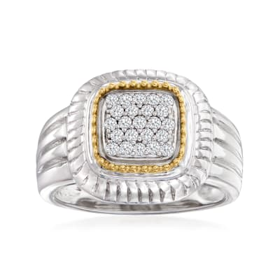 .24 ct. t.w. Diamond Square-Top Ring in Sterling Silver and 14kt Yellow Gold