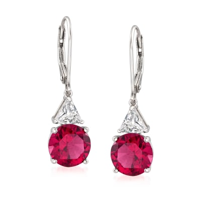 5.30 ct. t.w. Simulated Ruby and 1.00 ct. t.w. CZ Drop Earrings in Sterling Silver