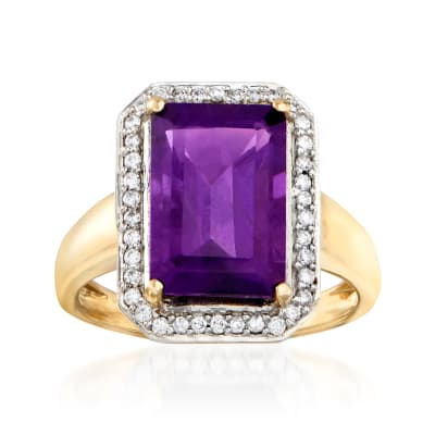 3.00 Carat Amethyst and .17 ct. t.w. Diamond Ring in 14kt Yellow Gold