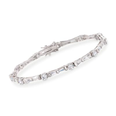 8.50 ct. t.w. Baguette and Round CZ Bracelet in Sterling Silver