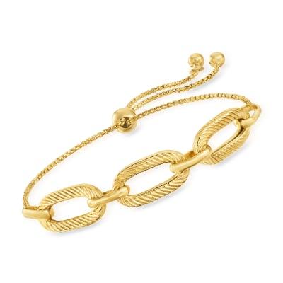 Italian 18kt Gold Over Sterling Paper Clip Link Bolo Bracelet