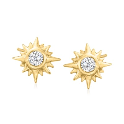 Diamond-Accented Sun Stud Earrings in 14kt Yellow Gold