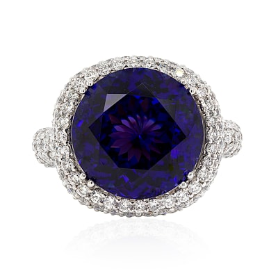 14.00 Carat Blue Tanzanite Ring with 3.70 ct. t.w. Diamonds in 14kt White Gold