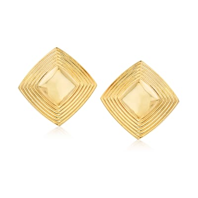 Italian 14kt Yellow Gold Pyramid Earrings