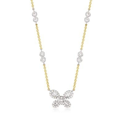 .50 ct. t.w. Baguette and Round Diamond Butterfly Necklace in 14kt Two-Tone Gold