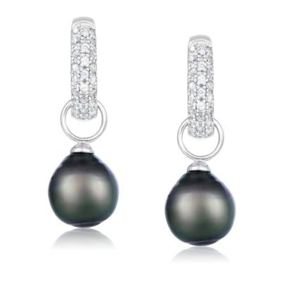 9-10mm Black Cultured Tahitian Pearl and .40 ct. t.w. White Topaz Hoop Drop Earrings in Sterling Silver