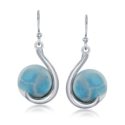 Larimar Drop Earrings in Sterling Silver