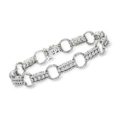 1.50 ct. t.w. Diamond Circle and Bar Bracelet in Sterling Silver