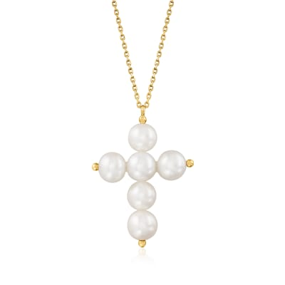 7-7.5mm Cultured Pearl Cross Pendant Necklace in 14kt Yellow Gold