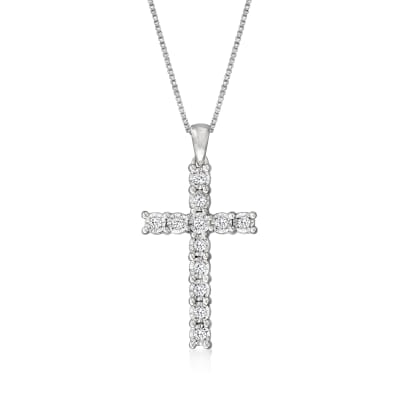 .25 ct. t.w. Diamond Cross Pendant Necklace in Sterling Silver