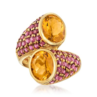 4.70 ct. t.w. Madeira Citrine and 2.40 ct. t.w. Rhodolite Garnet Bypass Ring in 18kt Gold Over Sterling