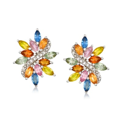 4.70 ct. t.w. Multicolored Sapphire and .12 ct. t.w. Diamond Earrings in Sterling Silver
