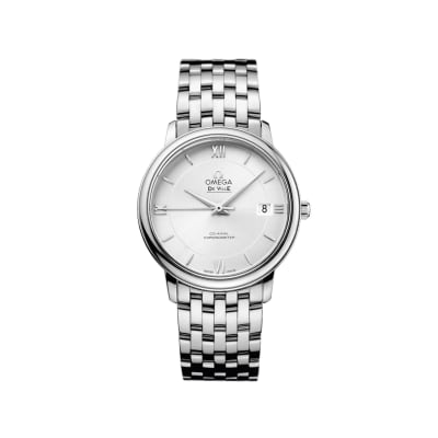 Omega De Ville Prestige Men's 36.8mm Stainless Steel Watch with Silver Dial