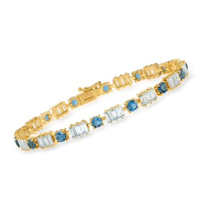 10.00 ct. t.w. London and Sky Blue Topaz Bracelet in 18kt Gold Over Sterling