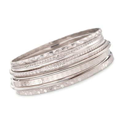 Italian Sterling Silver Jewelry Set: Seven Assorted Texture Bangle Bracelets
